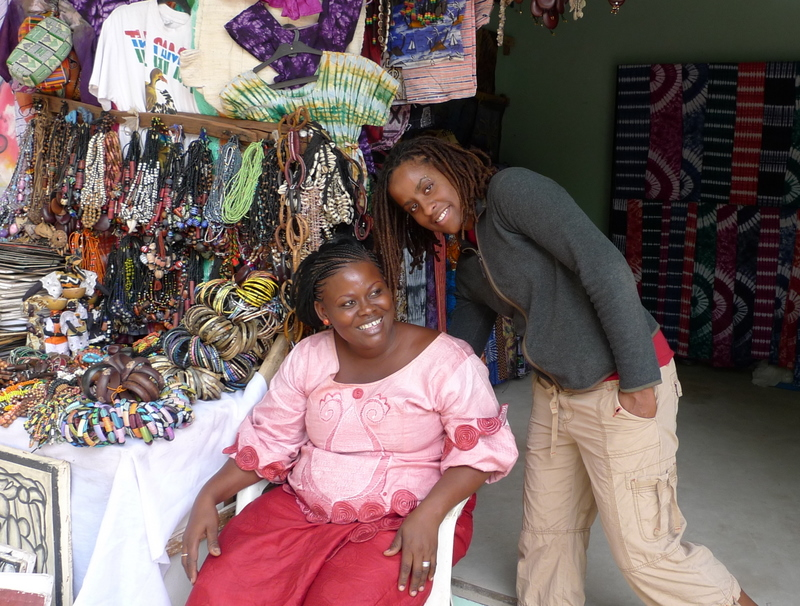 Tiffany and an old friend in Bakau Market
