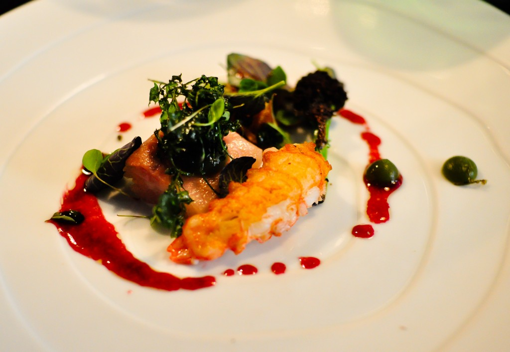 Roasted langoustine, cured char, purple sprouting and chokeberry vinaigrette