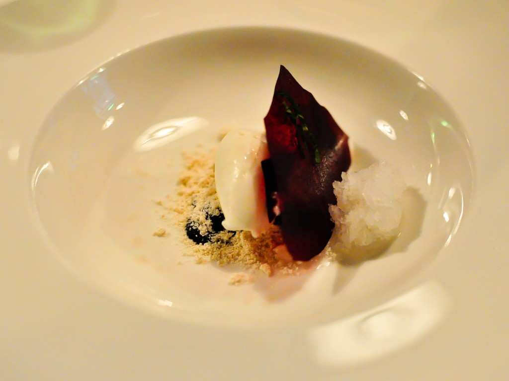Bilberries, dried caramel, natural yoghurt and iced lemon thyme